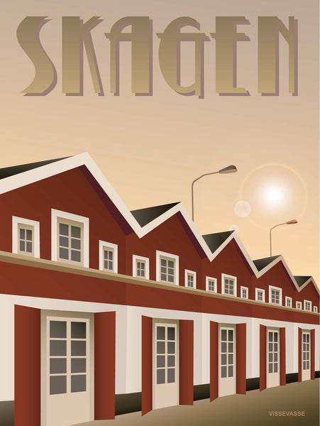 Skagen poster from ViSSEVASSE with red houses