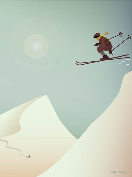 Skiing poster from ViSSEVASSE with a skier on a mountain