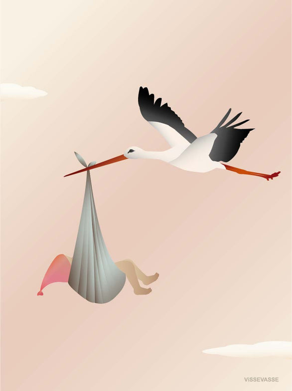 Vissevasse, the stork rosa, greeting card