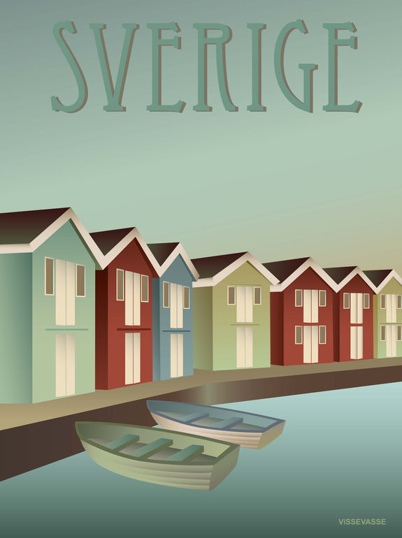 Sweden poster from ViSSEVASSE with houses by the water