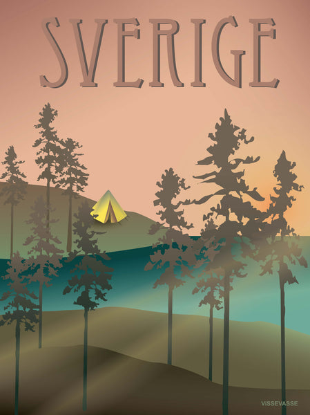 Sweden poster from ViSSEVASSE with the woods