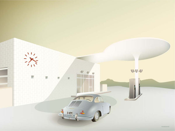 Skovshoved Petrol Station with classic Porsche in front