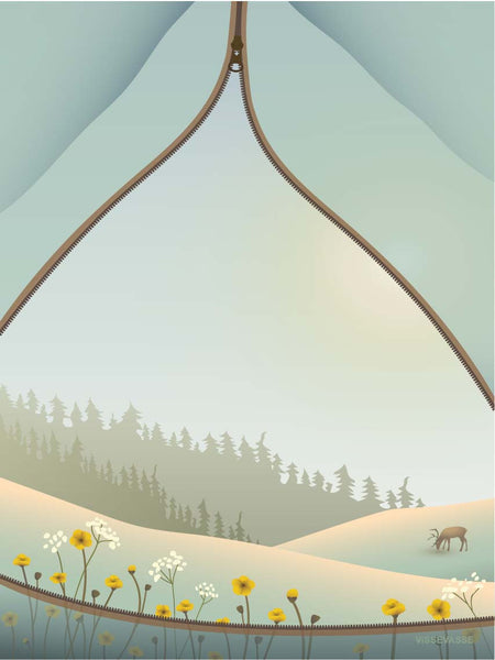 Tent with a view poster from ViSSEVASSE with a tent and flowers