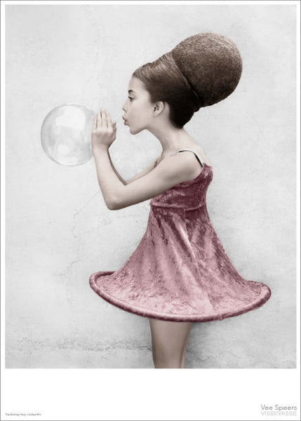 Girl blowing the bubble poster from Vee Speers