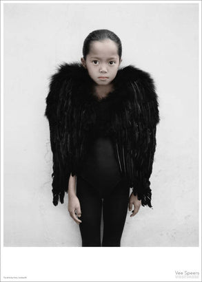 Vee Speers girl dressed in black with wings