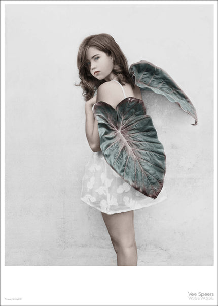 Girl holding leaves poster from Vee Speers