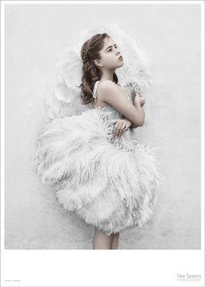 Girl with feathers poster from Vee Speers