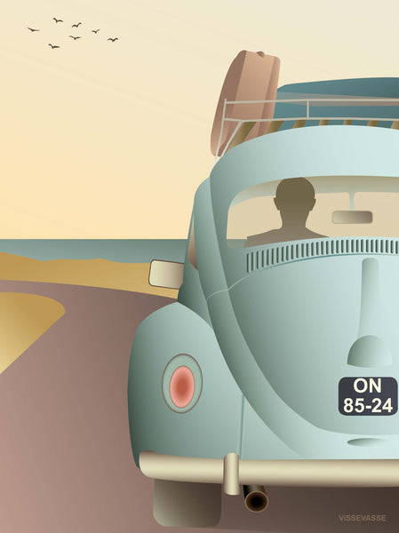 VW Beetle poster from ViSSEVASSE with blue beetle on the road