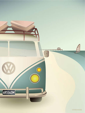 VW CAMPER poster from ViSSEVASSE with VW Camper driving along the coast