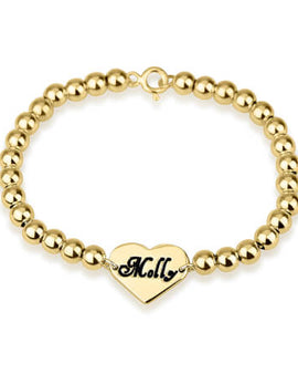 Heart Bead Bracelet 24k Gold Plated