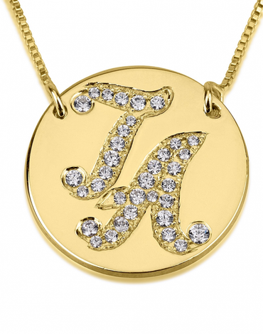 Initial Disc Necklace with Cubic Zirconia - 14k Gold