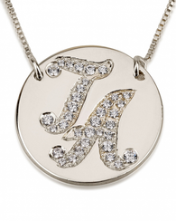 Initial Disc Necklace with Cubic Zirconia - 14k White Gold