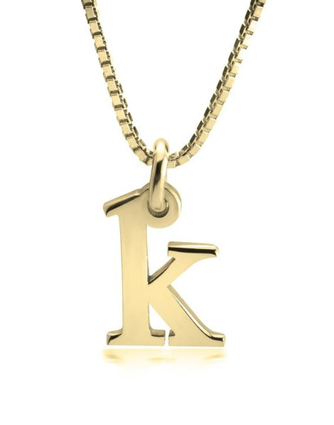 Small Initial Necklace - 14k Gold