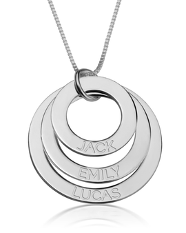 Engraved Mother Necklace - 14k White Gold