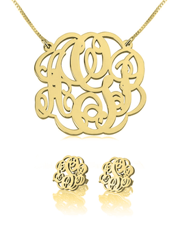 Monogram Necklace & Earring Set 24k Gold Plated