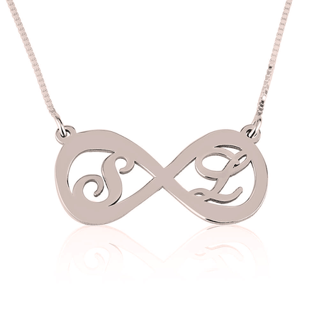 Two Letters Infinity Necklace Rose Gold Plated