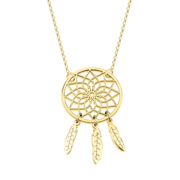 Dreamcatcher Necklace 24k Gold Plated