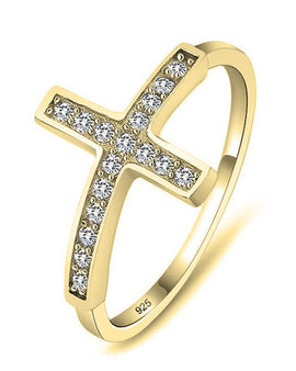 Sideways Cross Ring 24k Gold Plated