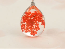 Dried Flower Glass Bubble Drop Charms