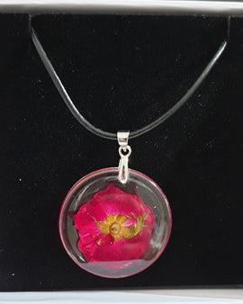 Dried Flower Pendant - Black Rope Chain