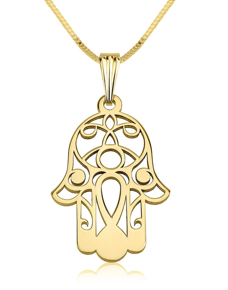 Hamsa Necklace - 24k Gold Plated