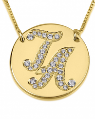 Initial Disc Necklace with Cubic Zirconia - 24k Gold Plated