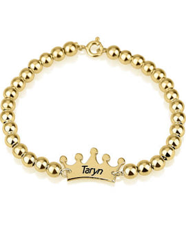 Crown Bead Bracelet 24k Gold Plated
