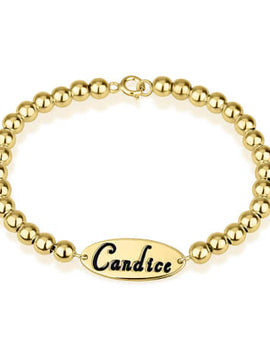 Oval Name Bead Bracelet 24k Gold Plated