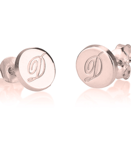 Initial Studs Rose Gold Plated