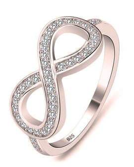 Cubic Zirconia Infinity Ring Rose Gold Plated