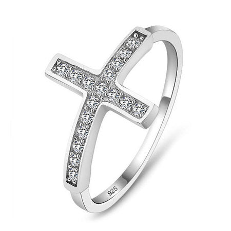 Sideways Cross Ring Sterling Silver