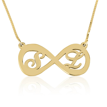Two Letters Infinity Necklace 14k Gold