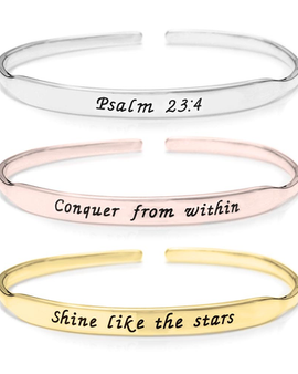 Inspirational Bangle- Rose Gold Plated