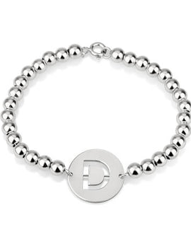 Cut Out Initial Bead Bracelet Sterling Silver