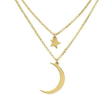 Crescent Moon and Star Necklace 24k Gold Plated