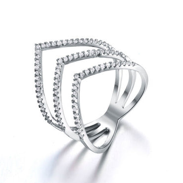 Cubic Zirconia Chevron Ring Sterling Silver