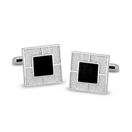 Square Silver & Black Cufflinks