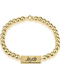 Bar Bead Bracelet 24k Gold Plated