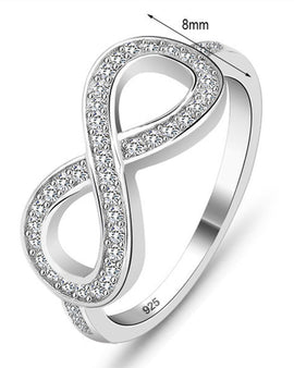 Cubic Zirconia Infinity Ring 24k Gold Plated