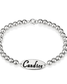 Oval Name Bead Bracelet Sterling Silver