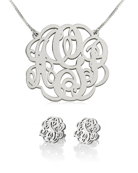 Monogram Necklace and Earring Set Sterling Silver