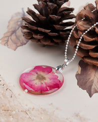 Dried Flower Pendant - Sterling Silver Chain