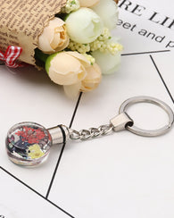 Dried Flower Keychain with LED Light