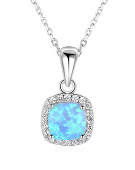 Square Opal Necklace Sterling Silver