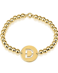 Cut Out Initial Bead Bracelet 24k Gold Plated