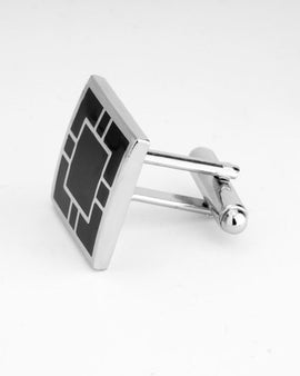 Square Black and Silver Cufflinks