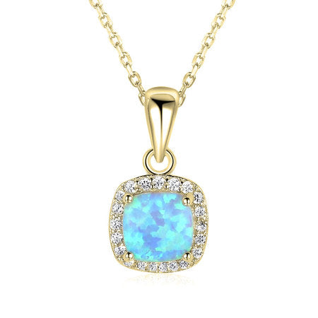 Square Opal Necklace 24k Gold Plated