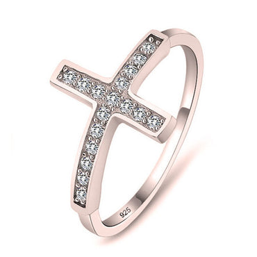 Sideways Cross Ring Rose Gold Plated