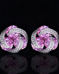 Pink CZ Crystal Stud Earrings