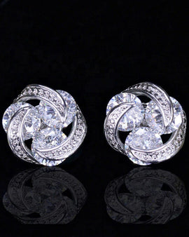 White CZ Crystal Stud Earrings